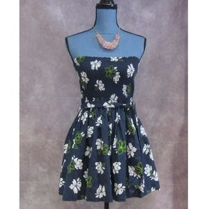 NEW Hollister Strapless Dress Blue White Green M